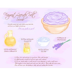 Hand drawn of fragrant lavender salt scrub recipe vector