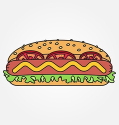 Thin line icon hot dog for web design and vector