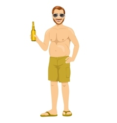 Obese man with big belly holding a bottle of beer vector image
