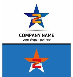 Abstract number 2 logo symbol with star icon vector