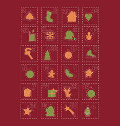 adventcalendar with twentyfour christmas asset vector image vector image