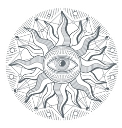 All seeing eye illuminati new world order vector image