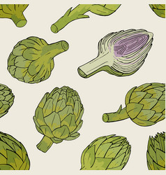Artichoke seamless pattern with hand drawn cutaway vector
