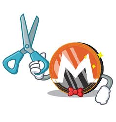 barber monero coin character cartoon vector image