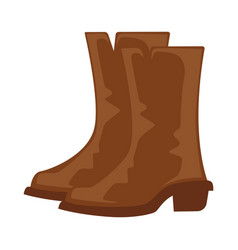 brown cowboy boots pair isolated on white vector image