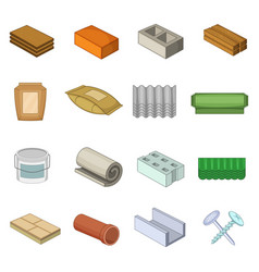 building material icons set cartoon style vector image