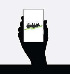 business people silhouette in hand vector image vector image