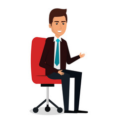Businessman in chair workplace character vector