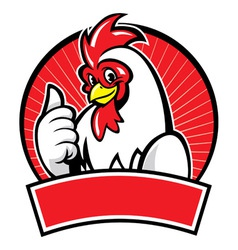 Chicken mascot with thumb up vector