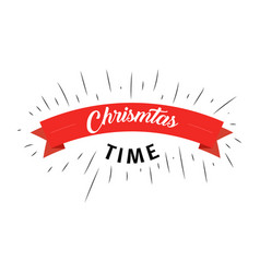 christmas time text with red ribbon on white vector image vector image