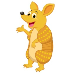 Cute armadillo cartoon presenting vector