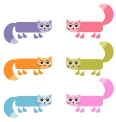 cute colorful cat set vector image vector image