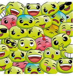 cute emoji cartoon icons vector image vector image