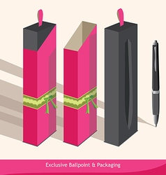 Exclusive ballpoint and packaging vector