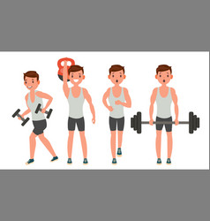 Fitness man different poses work out vector