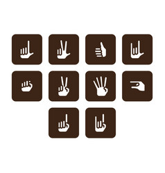 flat color hand icon set vector image vector image