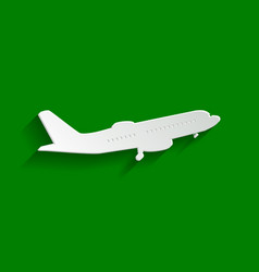 Flying plane sign side view paper vector