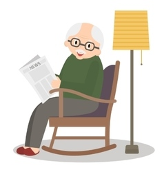 Grandfather sitting in rocking chair vector image vector image