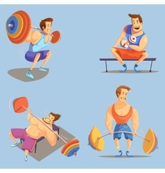 Gym cartoon icons set vector