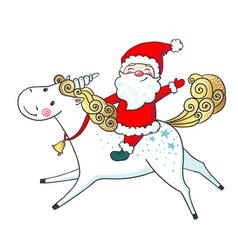 Hand drawn cute unicorn and santa claus vector