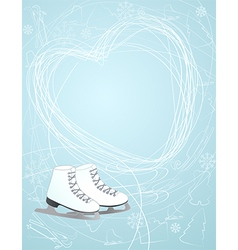 Ice skates with a heart symbol vector