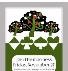 Invitation card - tree from wonderland garden vector