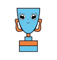 Kawaii cute happy prize cup vector