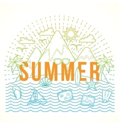 Line style flat color summer vector