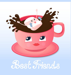 Marshmallow falls into a coffee friendship day vector