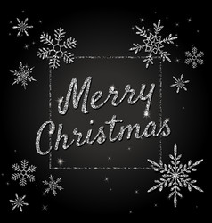 merry christmas banner with silver glittering vector image vector image
