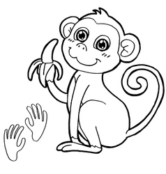 monkey with paw print Coloring Page vector image