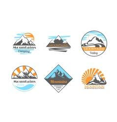 Mountains logo set Mountain rock outdoor camping vector image vector image