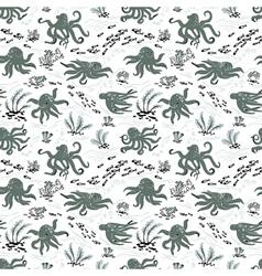Octopus seamless pattern vector image