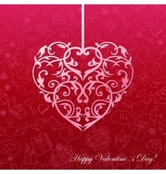 Paper heart on seamless with love symbol vector image vector image