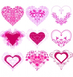 Red hearts with filigree ornament vector
