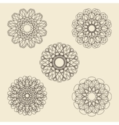 Round ornament set Circle snowflake and floral vector image