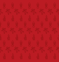seamless red christmas pattern vector image