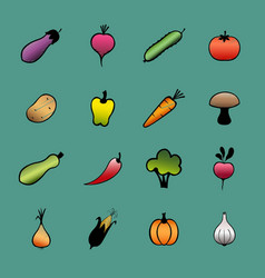 Set of vegetables hand drawn vegetable icons vector