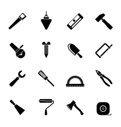 Silhouette construction and building tools icons vector