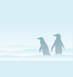 Silhouette penguin on the snow scenery vector