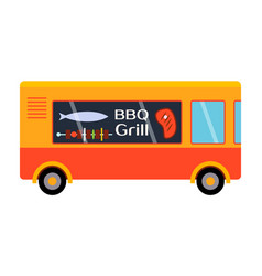 street food festival bbq grill trailer vector image