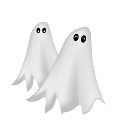 Two Happy Halloween Ghost on White Background vector image vector image