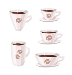 Set of Cartoon Style Coffee Cup vector image