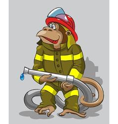 Monkey fireman vector image