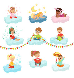 Lovely little boys and girls sitting on a clouds vector