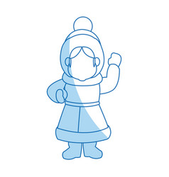Cartoon woman christmas song winter clothes vector