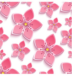 seamless pattern with 3d cherry blossom vector image