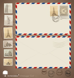 Vintage envelope designs and stamps vector