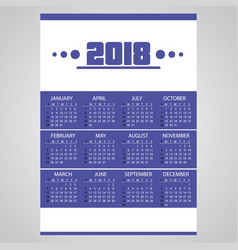 2018 simple business blue wall calendar with vector image vector image