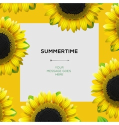 Summertime template with sunflowers background vector